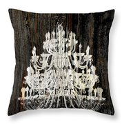 Rustic Shabby Chic White Chandelier On Wood Throw Pillow