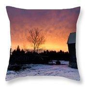 Rustic Winter Sunrise Throw Pillow