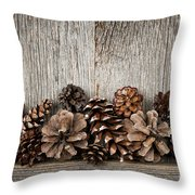 Rustic Wood With Pine Cones Throw Pillow
