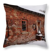 Rustic Workshop In Winter Throw Pillow