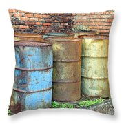 Rusting Oil Barrels Throw Pillow