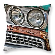 Rusty 1959 Ford Station Wagon - Front Detail Throw Pillow