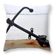 Rusty Black Boat Anchor By Sarasota Harbor Usa Throw Pillow