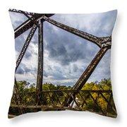 Rusty Bridge In Fall Throw Pillow