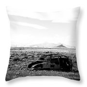 Rusty Car 3 - Black And White Throw Pillow