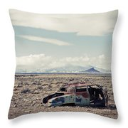 Rusty Car In Plain Throw Pillow
