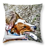 Rusty Dog Love Throw Pillow