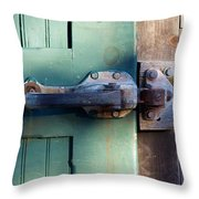 Rusty Door Latch Throw Pillow