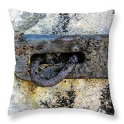 Rusty Dusty And Grimy Lock Plate Throw Pillow