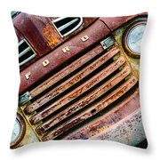 Rusty Ford Grill Throw Pillow