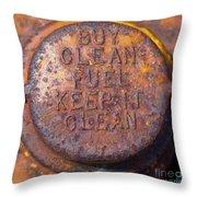 Rusty Gas Tank Cap Throw Pillow