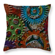 Rusty Gears On Grunge Texture Background Throw Pillow