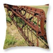 Rusty Hay Rake Throw Pillow
