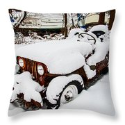 Rusty Jeep In Snow Throw Pillow