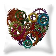 Rusty Metal Gears Forming Heart Shape Illustration Throw Pillow