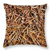 Rusty Nails Abstract Art Throw Pillow