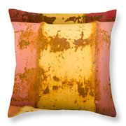 Rusty Oil Barrels Yellow Red Background Pattern Throw Pillow