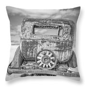 Rusty Old Car In The Snow Throw Pillow