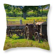 Rusty Old Mccormick Deering Tractor Throw Pillow