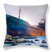 Rusty Old Shipwreck Aground  On Rocky Reef Throw Pillow