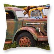Rusty Old Trucks Throw Pillow