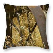 Rusty Old Wheel And Yellow Grasses Throw Pillow