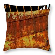 Rusty Remains Of An Old Boat Throw Pillow