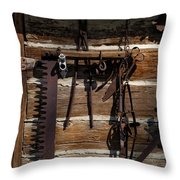 Rusty Shades On A Chinked Wall Throw Pillow