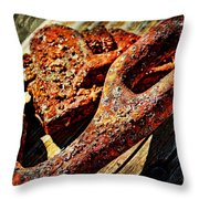 Rusty Tools I With Texture Throw Pillow