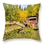 Rusty Truck And Grader Forgotten In Fall Forest Throw Pillow