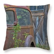 Rusty Vintage Ford Panel Truck Throw Pillow