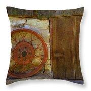 Rusty Wheel Throw Pillow
