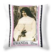 Rwanda Stamp Throw Pillow