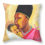 Rwandan Maternal Kiss Throw Pillow