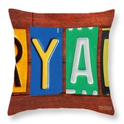 Ryan License Plate Name Sign Fun Kid Room Decor. Throw Pillow