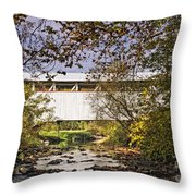 Ryot Covered Bridge And Stream Throw Pillow