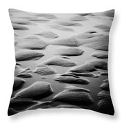 Rythm On Sand With Wave On Sea Coast At Sunset Black And White Throw Pillow