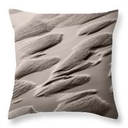 Rythm On Sand With Wave On Sea Coast At Sunset Sepia Throw Pillow
