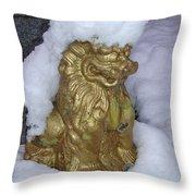 Ryukyuan Shisa Dog With Snow-hawk Throw Pillow
