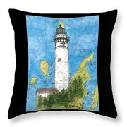 S Manitou Island Lighthouse Mi Nautical Chart Map Art Throw Pillow