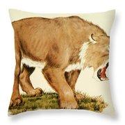 Sabretooth Cat Throw Pillow