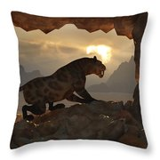 Sabre-tooth Cave. Throw Pillow