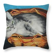 Sabrina In Her Basket Throw Pillow