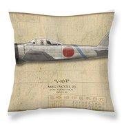 Saburo Sakai A6m Zero - Map Background Throw Pillow
