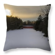 Sachs Covered Bridge At Sunrise In Winter Throw Pillow
