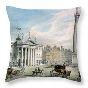 Sackville Street, Dublin, Showing The Post Office And Nelsons Column Throw Pillow