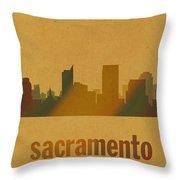 Sacramento California City Skyline Watercolor On Parchment Throw Pillow