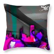 Sacramento Skyline Watercolor Throw Pillow