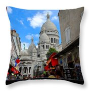 Sacre Coeur In Montmartre Throw Pillow