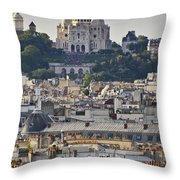Sacre Coeur Over Rooftops Throw Pillow